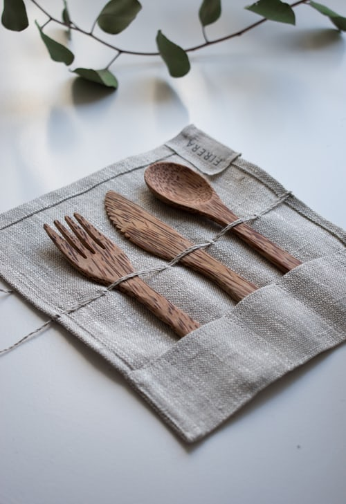 bamboo silverware reusable canvas bag bring your own utensils